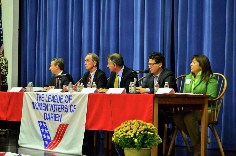 Candidates for the 25th and 27th State Senate districts fielded questions during Tuesday's League of Women Voters Meet the Candidate night in the Darien Town Hall auditorium. Photo: Megan Spicer / Darien News