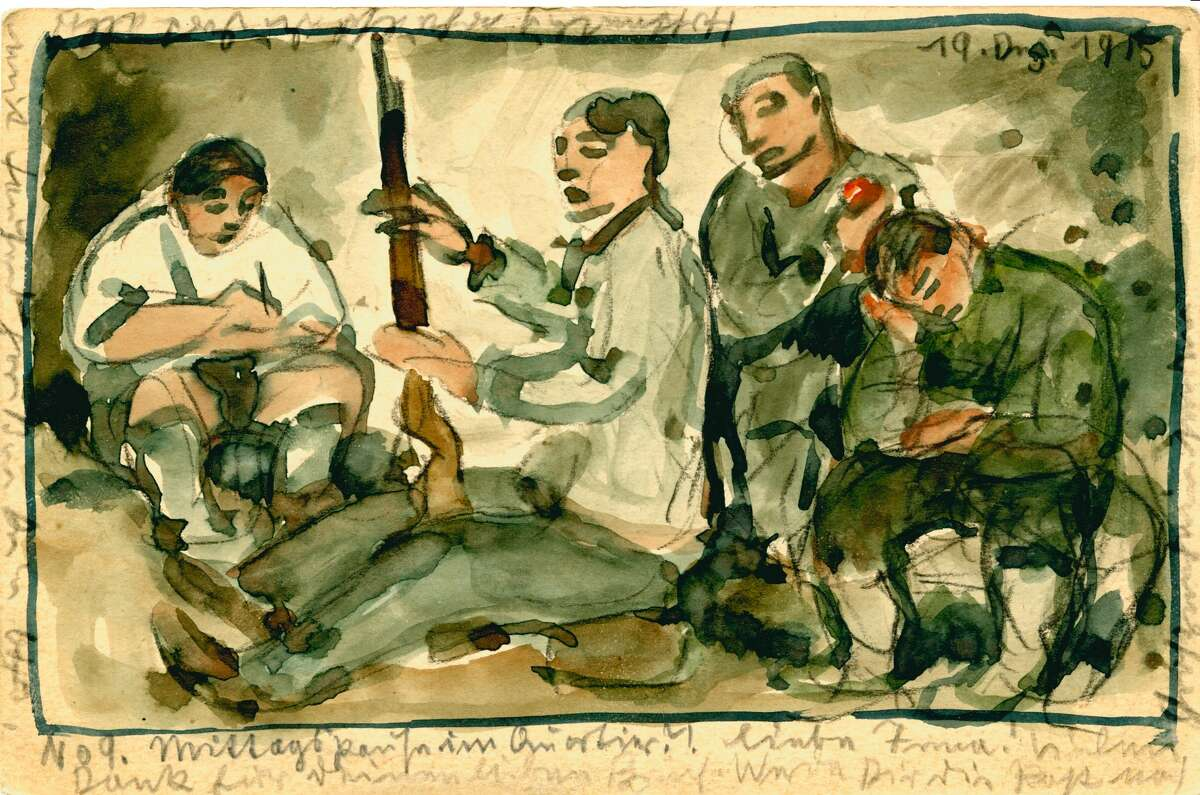 """Otto Schubert's """"Noon Break in Our Quarters"""" is among the hand-made postcards on view in """"Postcards from the Trenches: Germans and Americans Visualize the Great War,"""" at the Printing Museum through Feb. 14."""