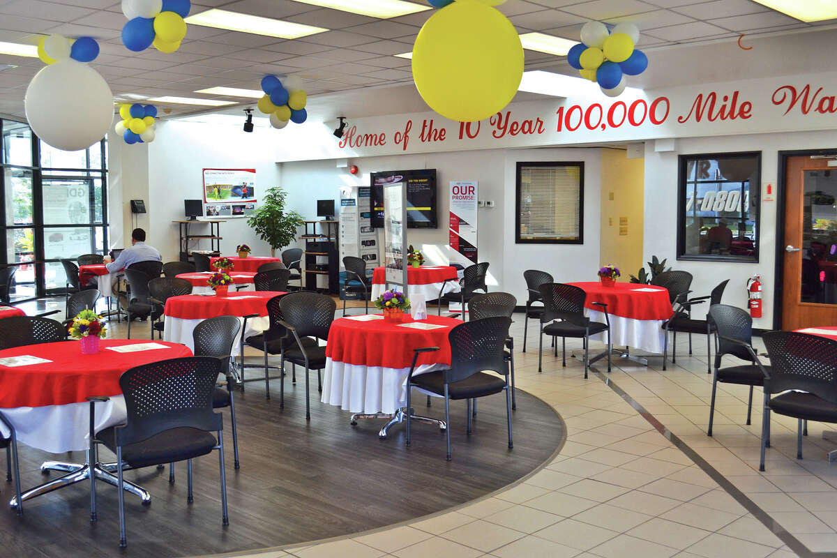The banquet-hall style customer meeting areas at Fuccillo Kia of Schenectady