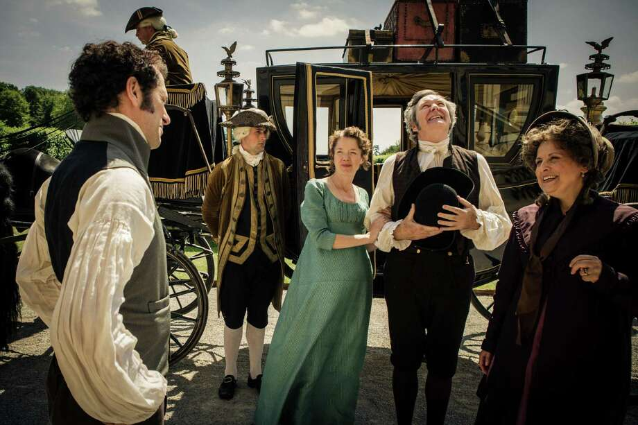 Left to right: Matthew Rhys as Darcy, Anna Maxwell Martin as Elizabeth Darcy, James Fleet as Mr. Bennet and Rebecca Front as Mrs. Bennet in Masterpiece: Mystery! series'Death Comes to Pemberley' on PBS Oct. 26 and Nov. 2, 2014.  Part One Sunday, October 26, 2014 at 9-10:30pm on PBS Six years after the end of Pride and Prejudice, Elizabeth and Darcy plan a ball—with fatal consequences. A family enemy takes charge of the case.  Shown from left to right: Matthew Rhys as Darcy, Anna Maxwell Martin as Elizabeth Darcy, James Fleet as Mr. Bennet and Rebecca Front as Mrs. Bennet  (C) RobertViglasky/Origin Pictures 2013 for MASTERPIECE This image may be used only in the direct promotion of MASTERPIECE. No other rights are granted. All rights are reserved. Editorial use only. Photo: Robert Viglasky / Robert Viglasky Photography