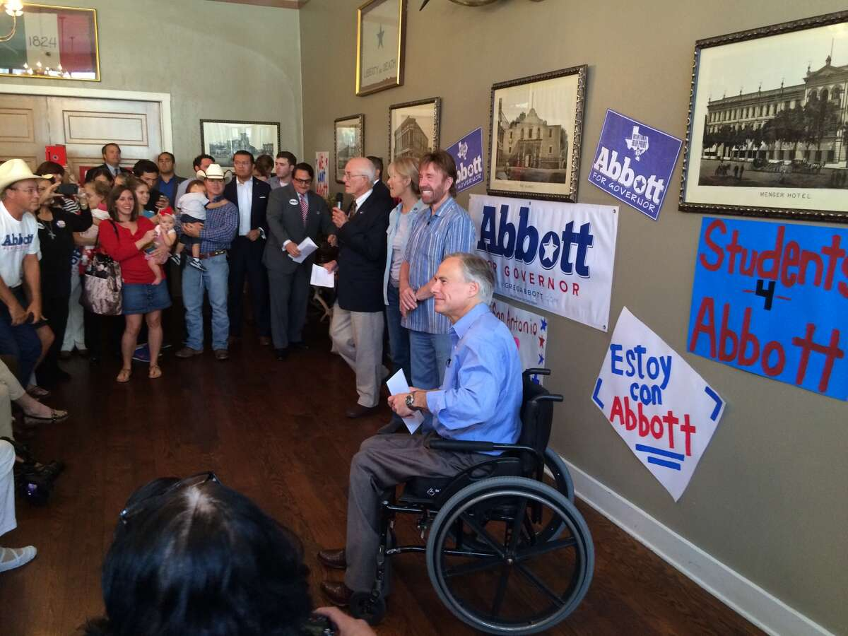 GOP gubernatorial candidate Greg Abbott rallied supporters in San Antonio on Wednesday with the help of actor Chuck Norris.