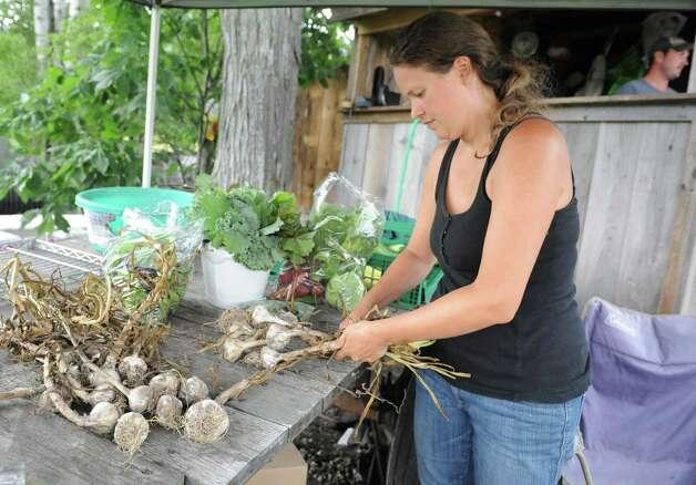 Eliza Winters braids bulbs of garlic at Hill Hollow Farm on Thursday, Aug, 1, 2013 in Petersburg, N.Y.  (Lori Van Buren / Times Union) ORG XMIT: MER2013080512170327 Photo: Lori Van Buren / 00023341A