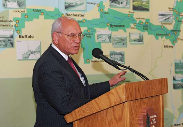 Congressman Paul Tonko speaks during a dedication ceremony in which the New York State Barge Canal is listed on the National Register of Historic Places at the Erie Canalway National Heritage Corridor, Visitor Center Wednesday, Oct. 22, 2014 in Waterford, N.Y.  (Lori Van Buren / Times Union) Photo: Lori Van Buren / 00029089A