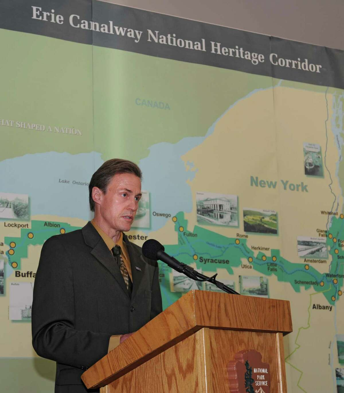 Bob Radliff, director, Erie Canalway National Heritage Corridor, speaks during a dedication ceremony in which the New York State Barge Canal is listed on the National Register of Historic Places at the Erie Canalway National Heritage Corridor, Visitor Center Wednesday, Oct. 22, 2014 in Waterford, N.Y. (Lori Van Buren / Times Union)