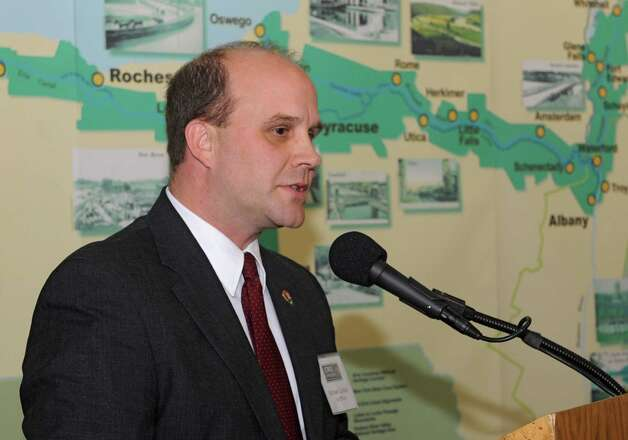 Michael Caldwell, director, Northeast Region, National Parks Service, speaks during a dedication ceremony in which the New York State Barge Canal is listed on the National Register of Historic Places at the Erie Canalway National Heritage Corridor, Visitor Center Wednesday, Oct. 22, 2014 in Waterford, N.Y.  (Lori Van Buren / Times Union) Photo: Lori Van Buren / 00029089A