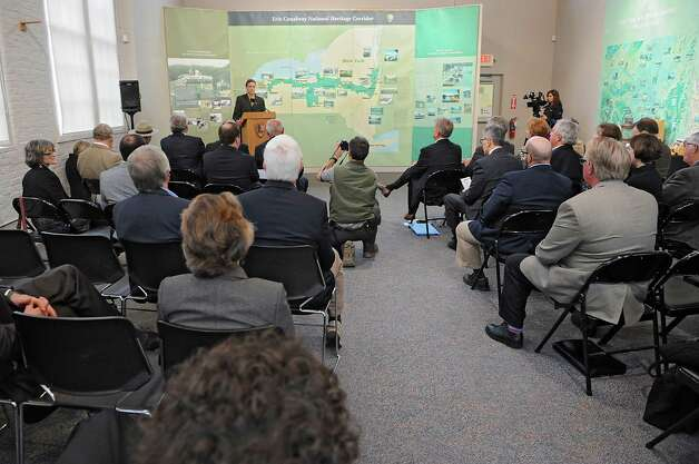 Bob Radliff, director, Erie Canalway National Heritage Corridor,  speaks during a dedication ceremony in which the New York State Barge Canal is listed on the National Register of Historic Places at the Erie Canalway National Heritage Corridor, Visitor Center Wednesday, Oct. 22, 2014 in Waterford, N.Y.  (Lori Van Buren / Times Union) Photo: Lori Van Buren / 00029089A