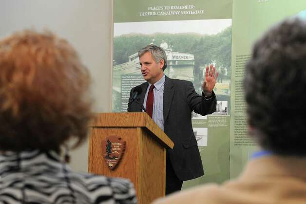 Andy Beers, executive deputy  commissioner, NYS Office of Parks, Recreation and Historic Preservation, speaks during a dedication ceremony in which the New York State Barge Canal is listed on the National Register of Historic Places at the Erie Canalway National Heritage Corridor, Visitor Center Wednesday, Oct. 22, 2014 in Waterford, N.Y.  (Lori Van Buren / Times Union) Photo: Lori Van Buren / 00029089A