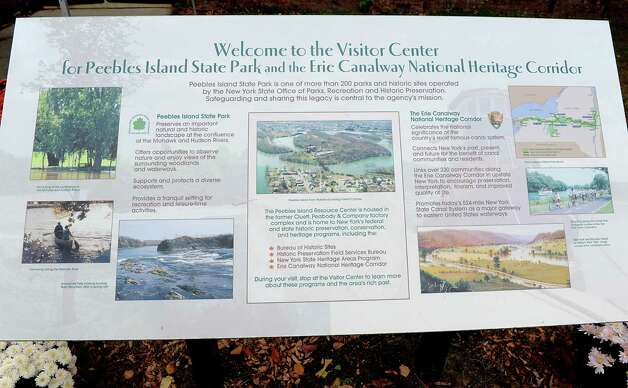 Signage at a dedication ceremony in which the New York State Barge Canal is listed on the National Register of Historic Places at the Erie Canalway National Heritage Corridor, Visitor Center Wednesday, Oct. 22, 2014 in Waterford, N.Y.  (Lori Van Buren / Times Union) Photo: Lori Van Buren / 00029089A
