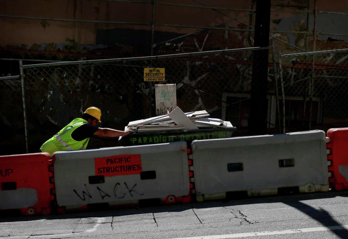 A construction company has blocked off several spots on Haight Street.