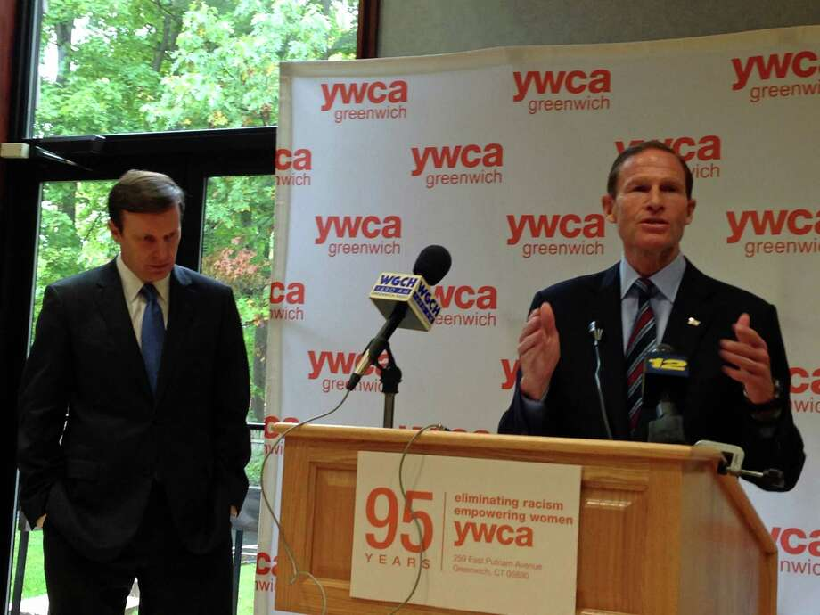 U.S. Sens. Richard Blumenthal and Christopher Murphy lobbies for the  Lori Jackson Domestic Violence Survivors Protection Act at the YWCA Greenwich Wednesday. Photo: Justin Pottle, Anne W. Semmes / Greenwich Time