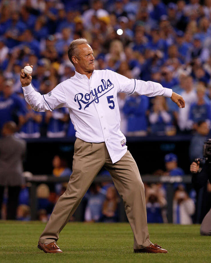 Former Kansas City Royal George Brett throws out the first pitch before Game 2 of the World Series at Kauffman Stadium on Wednesday, Oct. 22, 2014 in Kansas City, Mo. Photo: Michael Macor, The Chronicle / ONLINE_YES