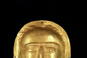 "A funerary mask from Thaj, Saudi Arabia, is part of the ""Roads of Arabia"" exhibition at the Asian Art Museum."