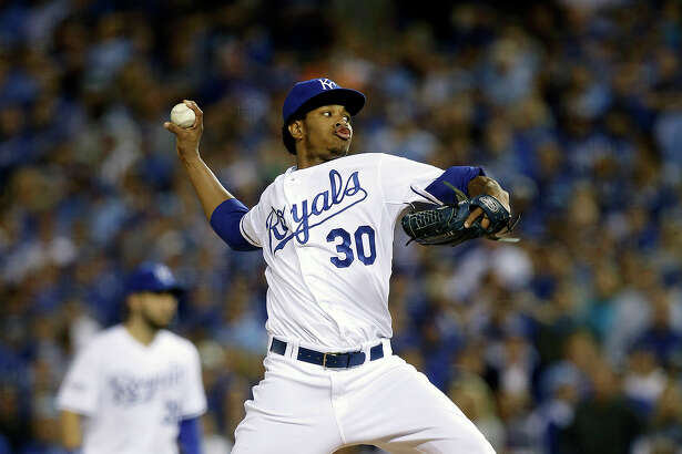 Royals Yordano Ventura pitches in the first inning during Game 2 of the World Series at Kauffman Stadium on Wednesday, Oct. 22, 2014 in Kansas City, Mo.