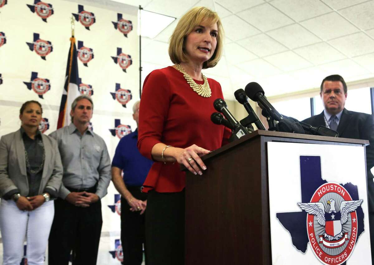 Republican incumbent Harris County District Attorney Devon Anderson thanks the Houston Police Officer's Union for their endorsement Wednesday and denies a claim she's made backroom deals with some officials accused of crimes.