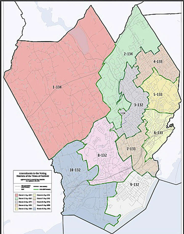 The Representative Town Meeting's Redistricting Committee has agreed on new local voting districts for the town shown here. The full RTM will vote on the recommendation in December. Photo: Contributed Photo /  Fairfield Citizen contributed