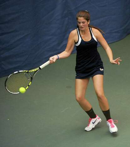 Rachel McDonald of Saratoga Springs hits the ball as she plays against Annie Phillips of Niskayuna in the Section II girls' tennis singles match at Sportime on Wednesday, Oct. 22, 2014 in Schenectady, N.Y.  (Lori Van Buren / Times Union) Photo: Lori Van Buren / 00029090A
