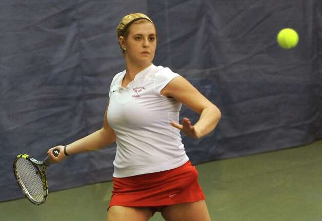 Annie Phillips of Niskayuna hits the ball as she plays against Rachel McDonald of Saratoga Springs in the Section II girls' tennis singles match at Sportime on Wednesday, Oct. 22, 2014 in Schenectady, N.Y.  (Lori Van Buren / Times Union) Photo: Lori Van Buren / 00029090A