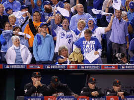 Royals fans get loud in the sixth inning of Game 2 of the World Series at Kauffman Stadium in Kansas City, Mo., on Oct. 22, 2014.