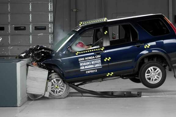 This undated photo provided by the Insurance Institute for Highway Safety shows a crash test of a 2002 Honda CR-V, one of the models subject to a recall to repair faulty air bags. The National Highway Traffic Safety Administration is warning 7.8 million car owners that inflator mechanisms in the air bags can rupture, causing metal fragments to fly out when the bags are deployed. (AP Photo/Insurance Institute for Highway Safety)