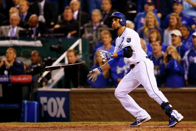 KANSAS CITY, MO - OCTOBER 22:  Omar Infante #14 of the Kansas City Royals hits a two-run  home run in the sixth inning against San Francisco Giants during Game Two of the 2014 World Series at Kauffman Stadium on October 22, 2014 in Kansas City, Missouri.  (Photo by Dilip Vishwanat/Getty Images) ORG XMIT: 519100513 Photo: Dilip Vishwanat / 2014 Getty Images