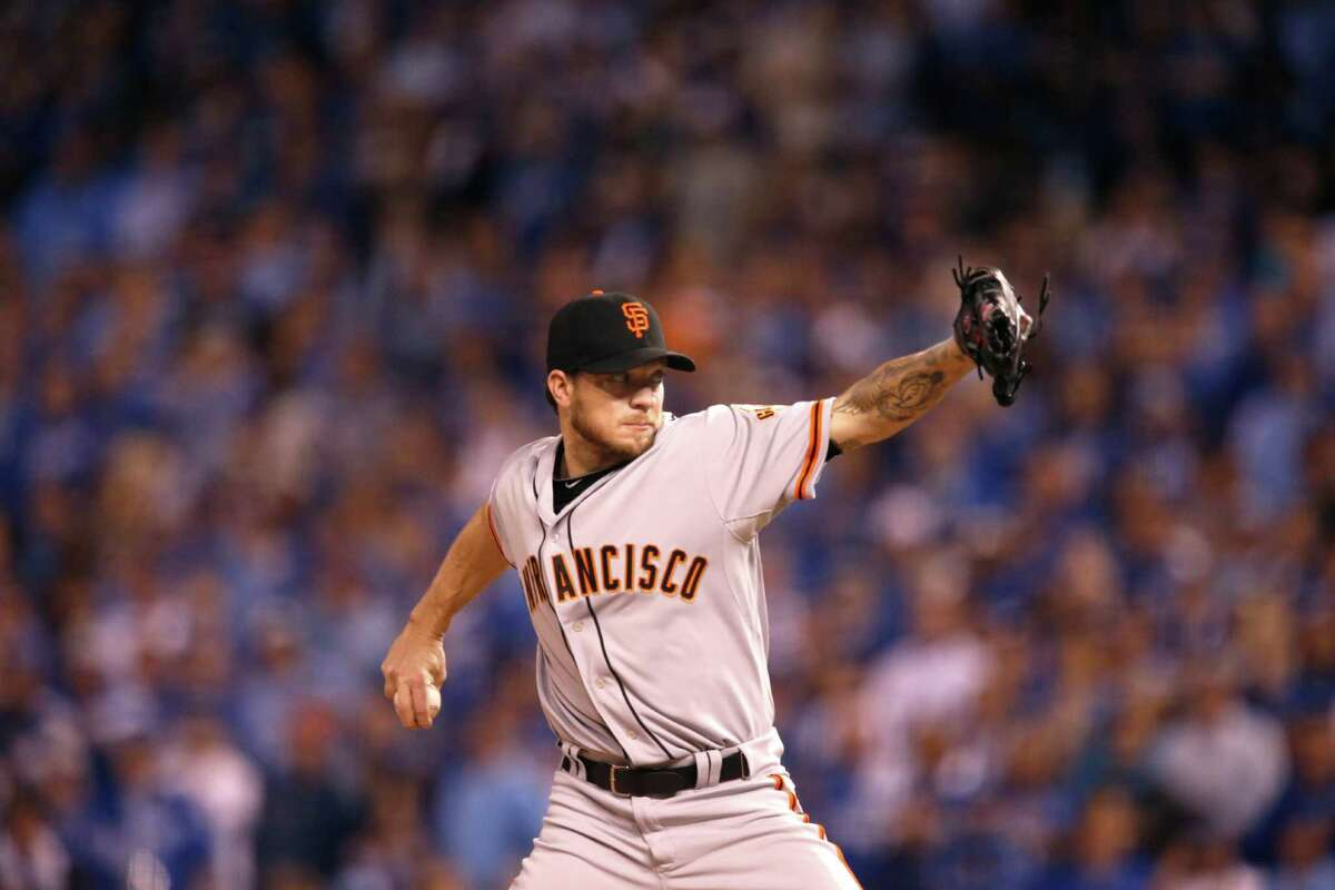 Giants Jake Peavy pitches in the first inning during Game 2 of the World Series at Kauffman Stadium on Wednesday, Oct. 22, 2014 in Kansas City, Mo.