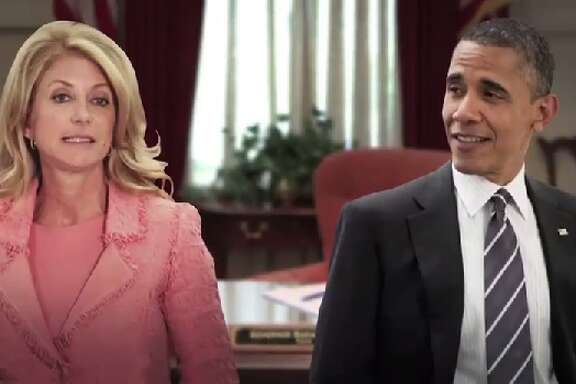 Republican gubernatorial candidate Greg Abbott has a TV ad comparing Democratic rival Wendy Davis to President Barack Obama.