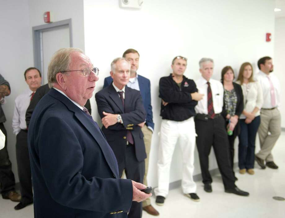 Sol Steiner, CEO of Perosphere, a local pharmaceutical in Danbury, Conn, gives a slide presentation during the ribbon cutting for its new clean manufacturing room, on Wednesday, October 22, 2014. Photo: H John Voorhees III / The News-Times Staff Photographer