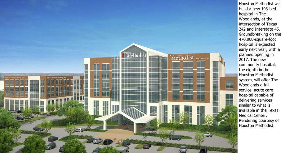 Houston Methodist is building a 193-bed hospital in The Woodlands and broke ground on the project last week. / ONLINE_YES