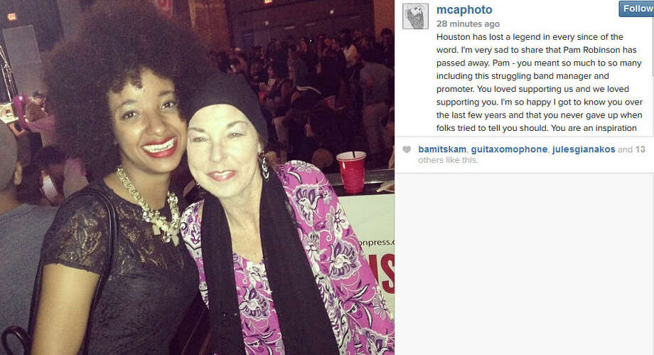 Pam Robinson, right, poses with Tontons singer Asli Omar at this year's Houston Press Music Awards ceremony. Robinson, who owned Walter's, Silky's, and Mary Jane's Fat Cat, succumbed to cancer this week at the age of 55.