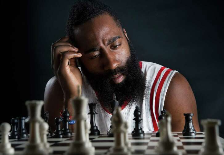 Houston Rockets guard James Harden. Monday, Sept. 29, 2014, in Houston.