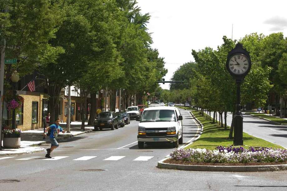 The clock on Main Street and White Street in downtown Danbury Photo: Jason Rearick / The News-Times