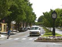 The clock on Main Street and White Street in downtown Danbury