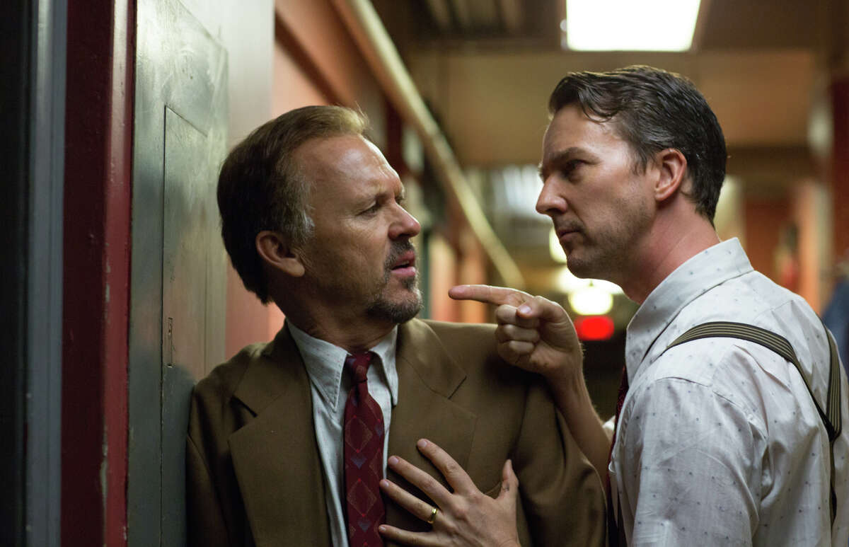 Michael Keaton as Riggan and Edward Norton as Mike are filmed in what's choreographed to look like a single flowing, smooth take in