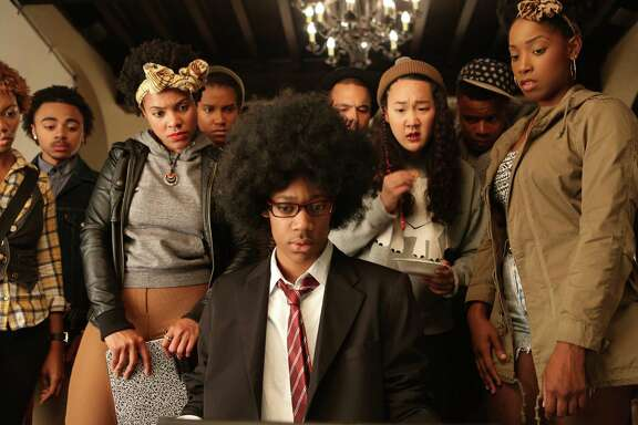 Tyler James Williams and the cast of DEAR WHITE PEOPLE.   Photo credit: Ashley Nguyen