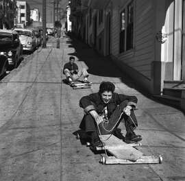 Boys sidewalk sled in North Beach, 1953.
