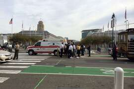 A pedestrian was hit by a tourist trolley in front of San Francisco's City Hall Thursday morning.
