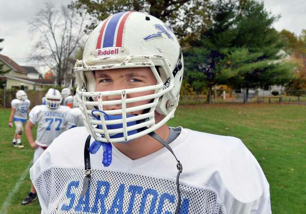 6-foot-7, 310-pound Saratoga senior lineman #79 Griffin Clancy during practice Wednesday Oct. 22, 2014, in Saratoga Springs, NY.   (John Carl D'Annibale / Times Union) Photo: John Carl D'Annibale / 00029166A