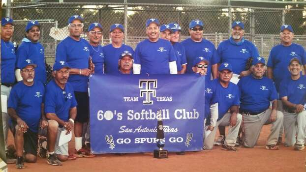 Team Texas finished first in the 60 AA division at the 2014 Softball World Championships in Las Vegas. Members: Front row (from left) — Joseph Martinez, Juan Vargas, Carlos Vargas (MVP), Oscar Vigil, Robert Cedillo, Cruz Chavez, Richard Perez; back row — Frank Garza (all-tournament), Roland Perez, Joe Garcia, Lupe Espinoza (all-tournament) John Calvillo, Richard Gaona (player-coach) Pete Moreno (all-tournament) Jim Borup, Robert Callazo, George Araujo (all-tournament) Candelario Romo. Photo: Courtesy Photo