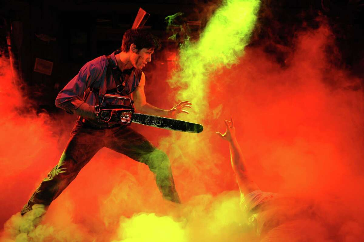 """""""Evil Dead the Musical"""": 7:30 p.m. Oct. 28, Proctors, 432 State St., Schenectady. The musical comedy takes all the elements of Sam Raimi's cult classic films ?- """"Evil Dead,"""" """"Evil Dead 2"""" and """"Army of Darkness"""" -?- then combines them to make one theatrical experience. It's also the only musical in the world where audiences can sit in a """"Splatter Zone!"""" and get drenched from the onstage mayhem. $20-$85; proctors.org (Courtesy of Proctors)"""