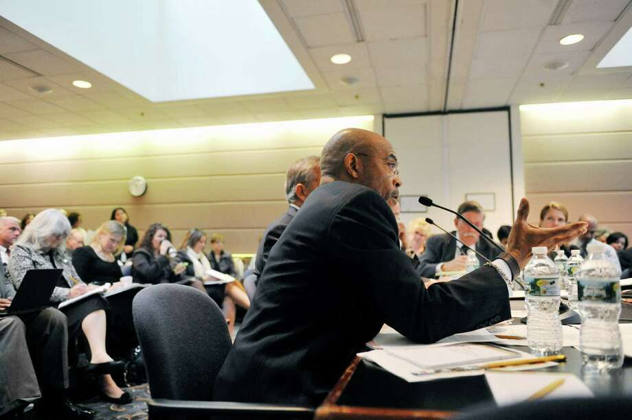 Lester Young, Jr., New York State Board of Regents member addresses those gathered for a board meeting on Monday, Oct. 20, 2014, at the State Education building in Albany, N.Y.   (Paul Buckowski / Times Union) Photo: Paul Buckowski / 00029096A