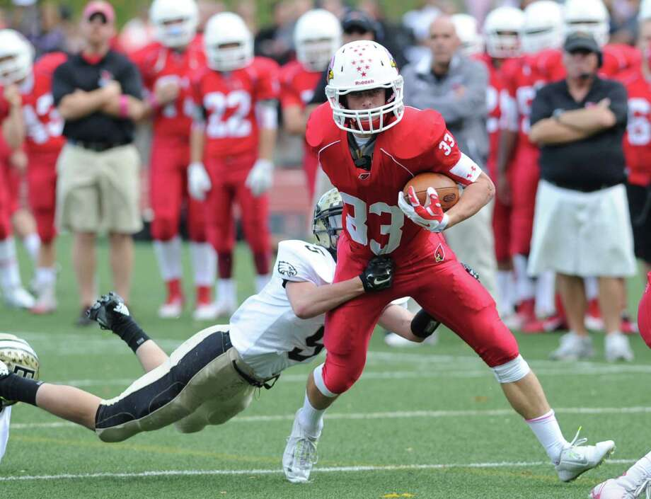 Junior Luke Bienstock's three touchdowns against Trumbull last week helped keep Greenwich High School's playoff hopes alive. Photo: Bob Luckey / Greenwich Time