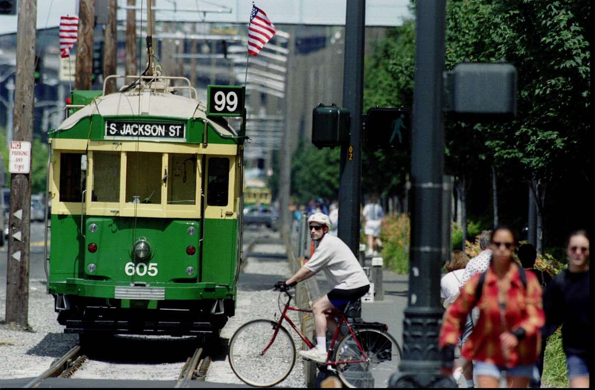 Powered by electricity, Metro's waterfront streetcars ran on a 1.6-mile track on Alaskan Way and a part of South Main Street. They were built in the '20s and '30s. Photo: 1995.