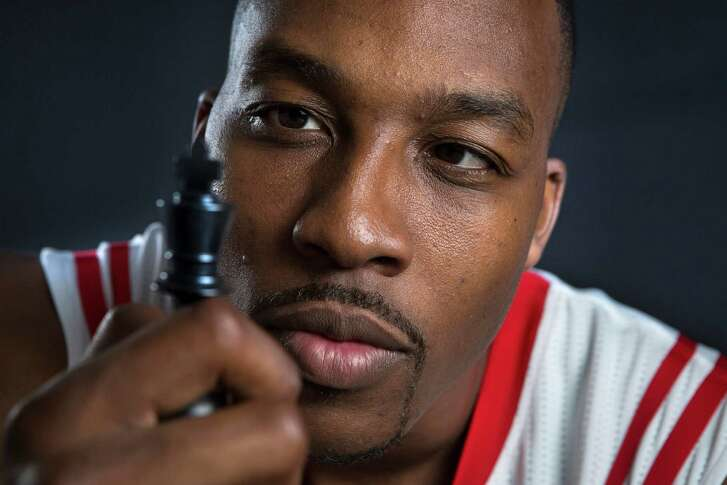 Houston Rockets center-forward Dwight Howard. Monday, Sept. 29, 2014, in Houston.
