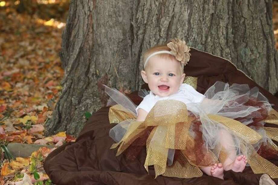 "Kassandra Foley says she and her daughter, Quinn, age 5 months, spent a beautiful fall day outside in their back yard in Voorheesville. ""Being my first daughter, she is a pretty good sport about letting me dress her up and take pictures,"" Kassandra says. (Kassandra Foley)"