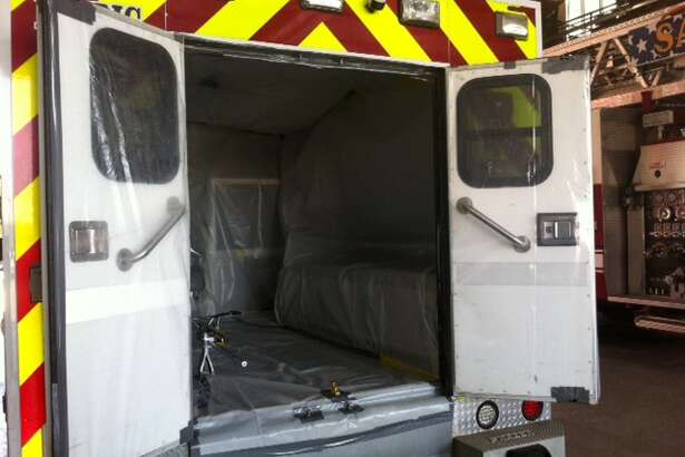 The San Antonio Fire Department unveiled Thursday an Ebola-ready ambulance, the inside completely covered in protective plastic