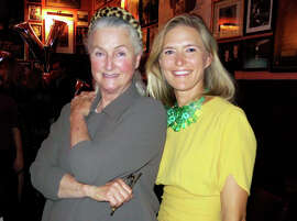 """At Tosca Cafe  in S.F., Elizabeth Swanson (left) celebrates her daughter's new book, """"Young Hollywood,"""" with Alicia Engstrom."""