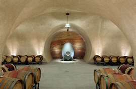 The winery has 12,000 square feet of caves where barrels are aged.