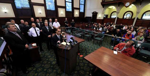 First Assistant Rensselaer County District Attorney Carmelo Laquidara speaks at a press conference after Gabriel Vega was arraigned on murder charges.  (Skip Dickstein/Times Union) Photo: SKIP DICKSTEIN / 00029178A