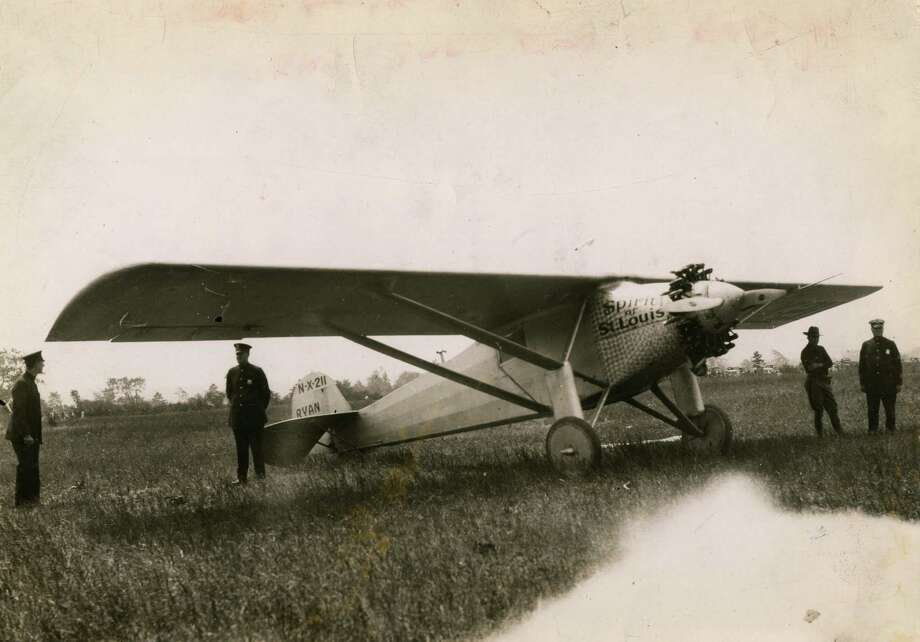 Charles Lindbergh's plane, Spirit of St. Louis, lands in Schenectady July 28, 1927. (Times Union archive)