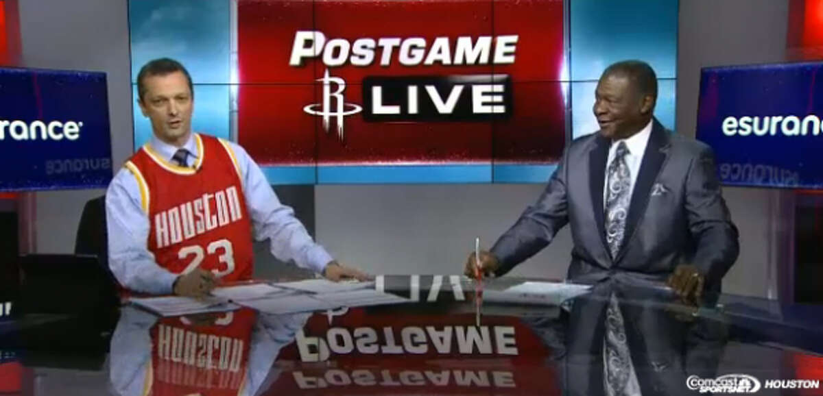 Bill Doleman, left, and Calvin Murphy were both moved to tears during their final broadcast of the Rockets' postgame show on Wednesday. The duo reflected on their two-year run together at CSNH.